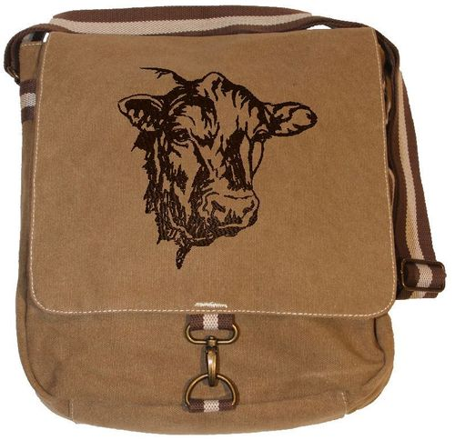 Vintage Canvas Messenger Tasche - Kuh