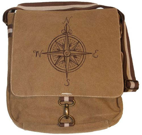 Vintage Canvas Messenger Tasche -  Kompass