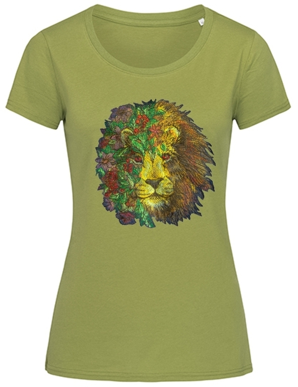 """Loewe in Blumen"" Ladies Organic T-Shirt  in 4 Farben"