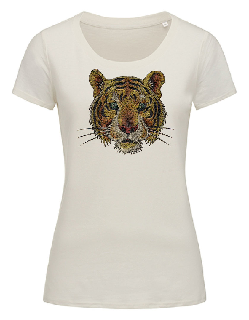 """T-Shirt Tiger Stone aged"" Ladies Organic in 4 Farben"