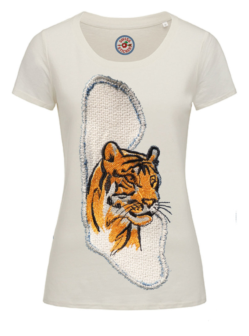 """Tiger Stoff look"" Ladies Organic T-Shirt in 4 Farben"
